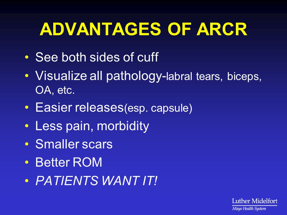 DISADVANTAGES OF ARCR Learning curve .