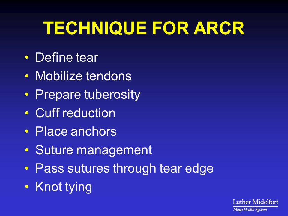 TECHNIQUE FOR ARCR Define tear Mobilize tendons Prepare tuberosity Cuff reduction Place anchors Suture management Pass sutures through tear edge Knot