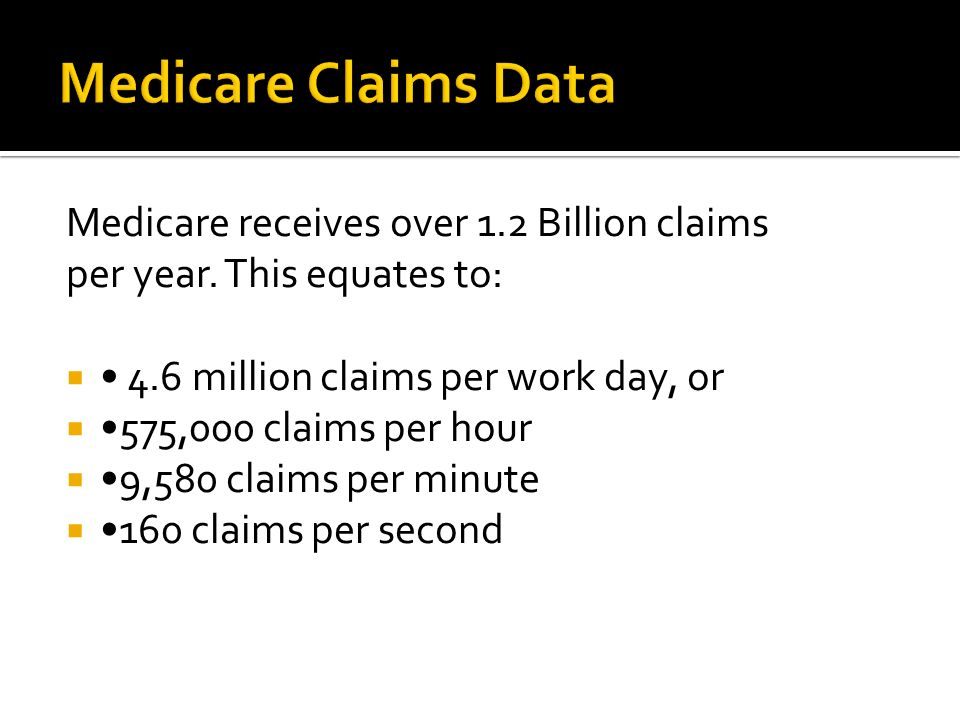 Medicare receives over 1.2 Billion claims per year. This equates to: 4.6 million claims per work day, or 575,000 claims per hour 9,580 claims per minu