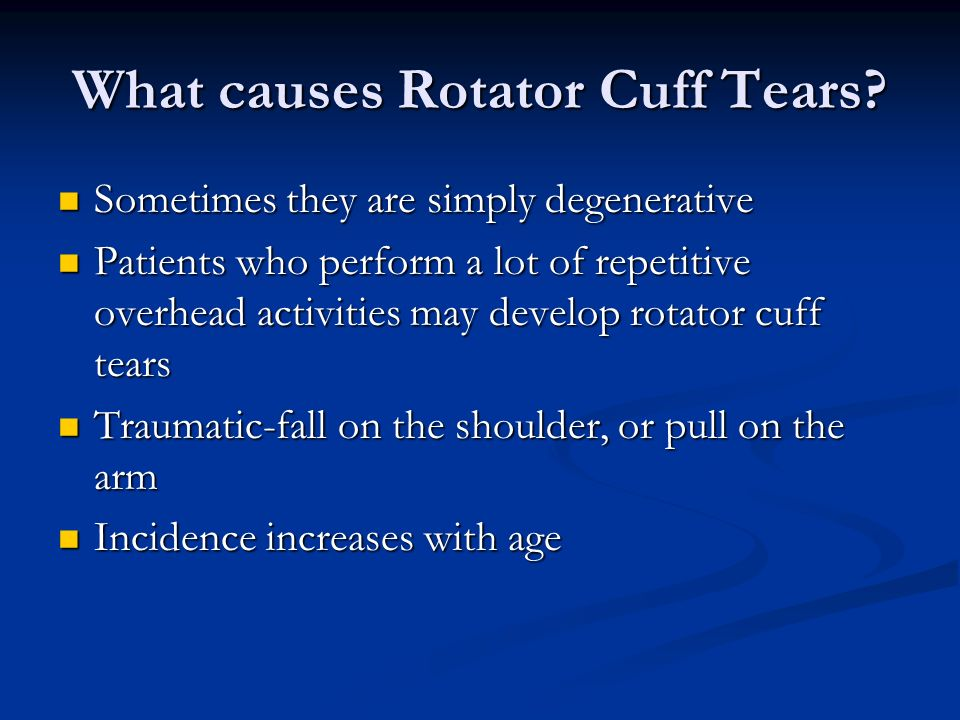 What causes Rotator Cuff Tears.