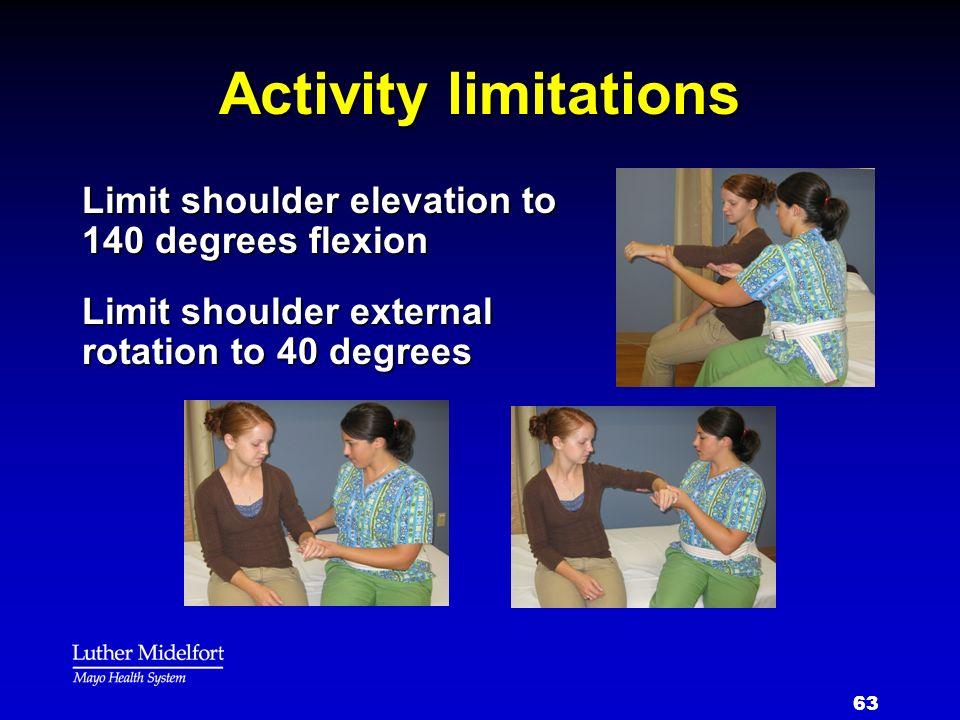 63 Activity limitations Limit shoulder elevation to 140 degrees flexion Limit shoulder external rotation to 40 degrees