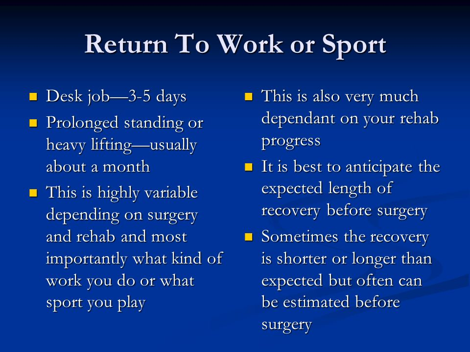 Return To Work or Sport Desk job3-5 days Desk job3-5 days Prolonged standing or heavy liftingusually about a month Prolonged standing or heavy lifting