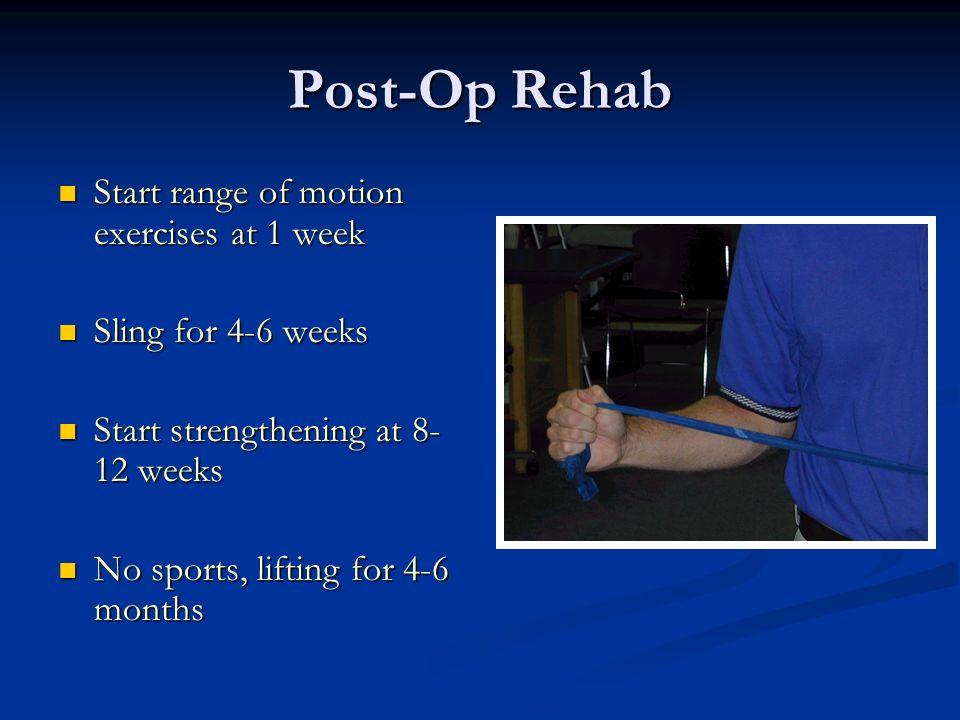 Post-Op Rehab Start range of motion exercises at 1 week Start range of motion exercises at 1 week Sling for 4-6 weeks Sling for 4-6 weeks Start streng
