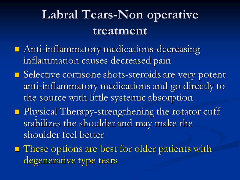 Labral Tears-Non operative treatment Anti-inflammatory medications-decreasing inflammation causes decreased pain Anti-inflammatory medications-decreas