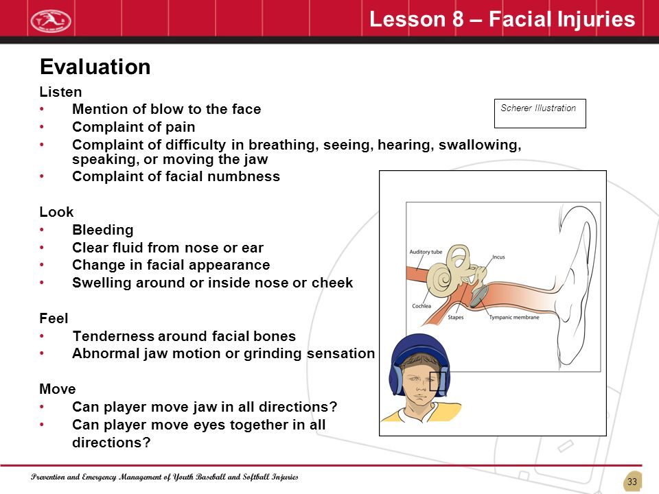 33 Lesson 8 – Facial Injuries Listen Mention of blow to the face Complaint of pain Complaint of difficulty in breathing, seeing, hearing, swallowing,