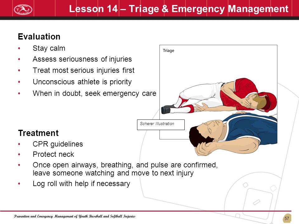 57 Lesson 14 – Triage & Emergency Management Evaluation Stay calm Assess seriousness of injuries Treat most serious injuries first Unconscious athlete