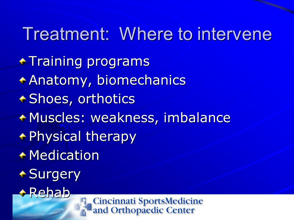 Treatment: Where to intervene Training programs Anatomy, biomechanics Shoes, orthotics Muscles: weakness, imbalance Physical therapy MedicationSurgery