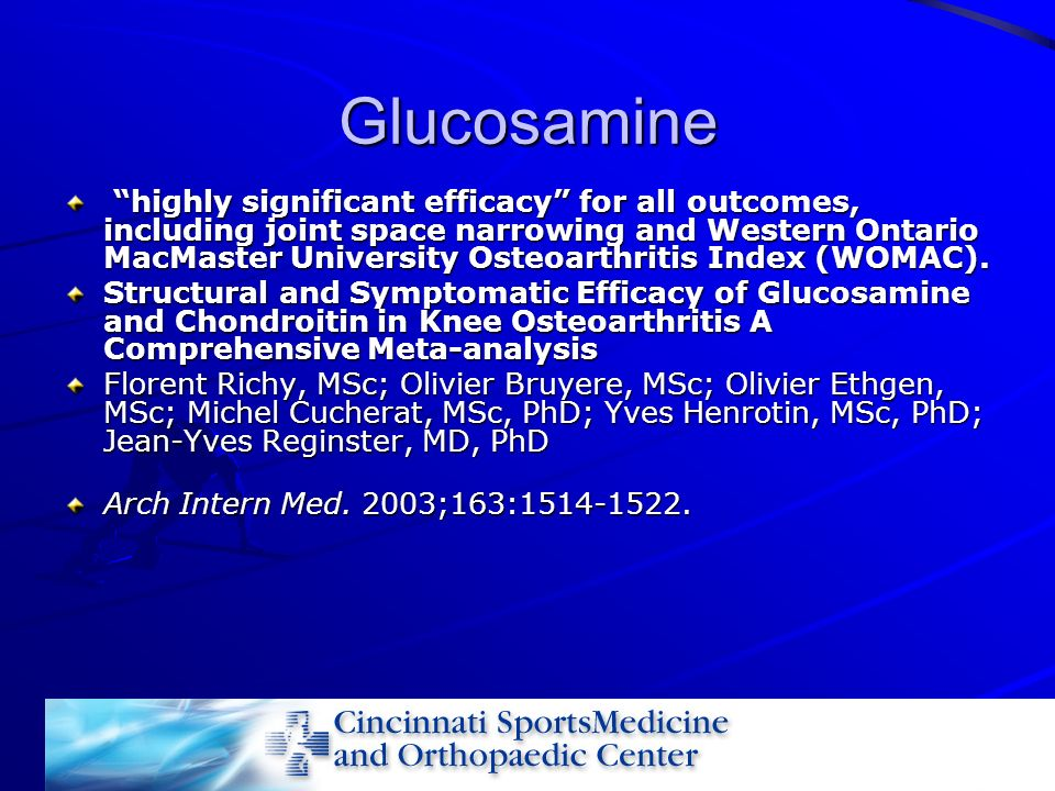 Glucosamine highly significant efficacy for all outcomes, including joint space narrowing and Western Ontario MacMaster University Osteoarthritis Inde
