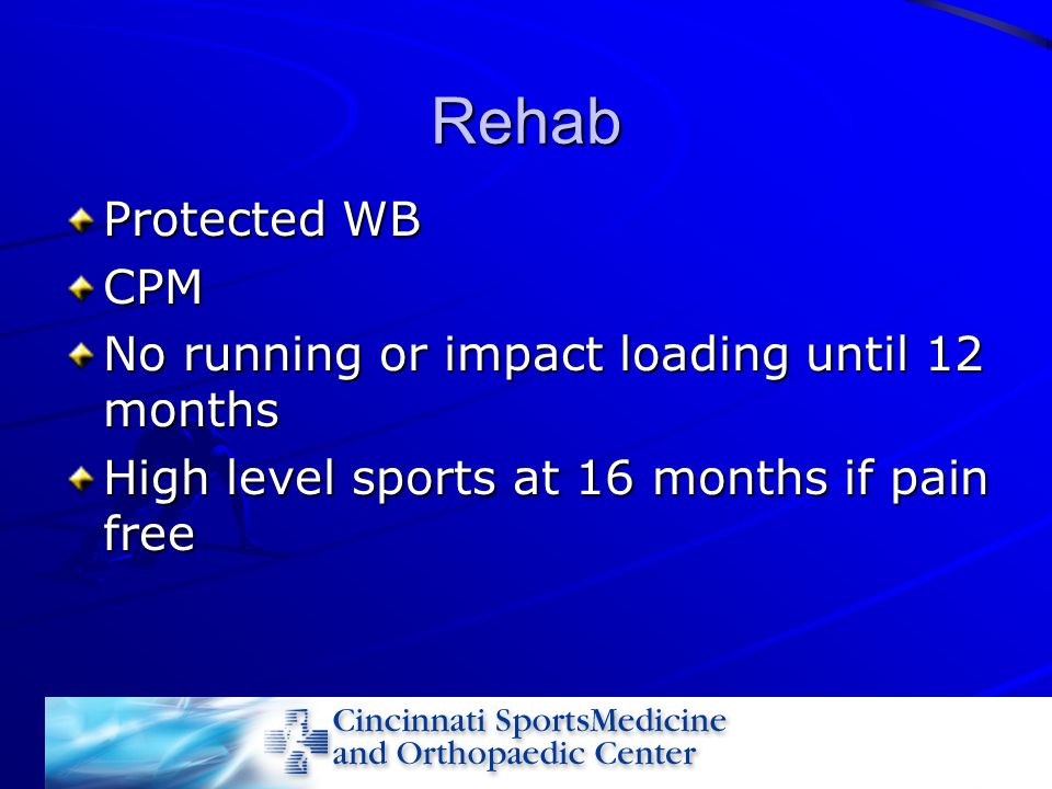 Rehab Protected WB CPM No running or impact loading until 12 months High level sports at 16 months if pain free