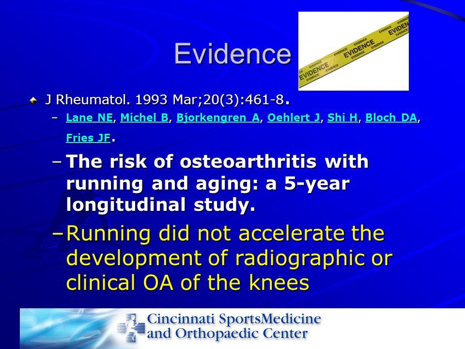 Evidence J Rheumatol. 1993 Mar;20(3):461-8. –Lane NE, Michel B, Bjorkengren A, Oehlert J, Shi H, Bloch DA, Fries JF. Lane NEMichel BBjorkengren AOehle