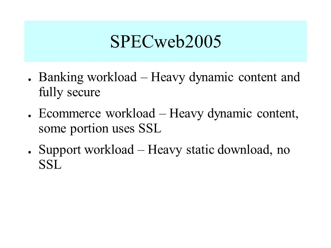 SPECweb2005 Banking workload – Heavy dynamic content and fully secure Ecommerce workload – Heavy dynamic content, some portion uses SSL Support workload – Heavy static download, no SSL