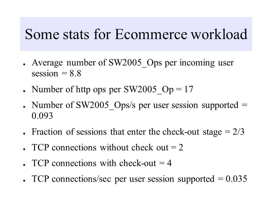 Some stats for Ecommerce workload Average number of SW2005_Ops per incoming user session = 8.8 Number of http ops per SW2005_Op = 17 Number of SW2005_Ops/s per user session supported = Fraction of sessions that enter the check-out stage = 2/3 TCP connections without check out = 2 TCP connections with check-out = 4 TCP connections/sec per user session supported = 0.035