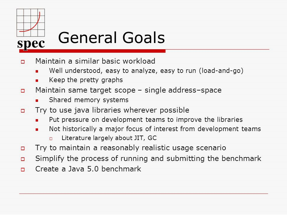 General Goals Maintain a similar basic workload Well understood, easy to analyze, easy to run (load-and-go) Keep the pretty graphs Maintain same target scope – single address–space Shared memory systems Try to use java libraries wherever possible Put pressure on development teams to improve the libraries Not historically a major focus of interest from development teams Literature largely about JIT, GC Try to maintain a reasonably realistic usage scenario Simplify the process of running and submitting the benchmark Create a Java 5.0 benchmark