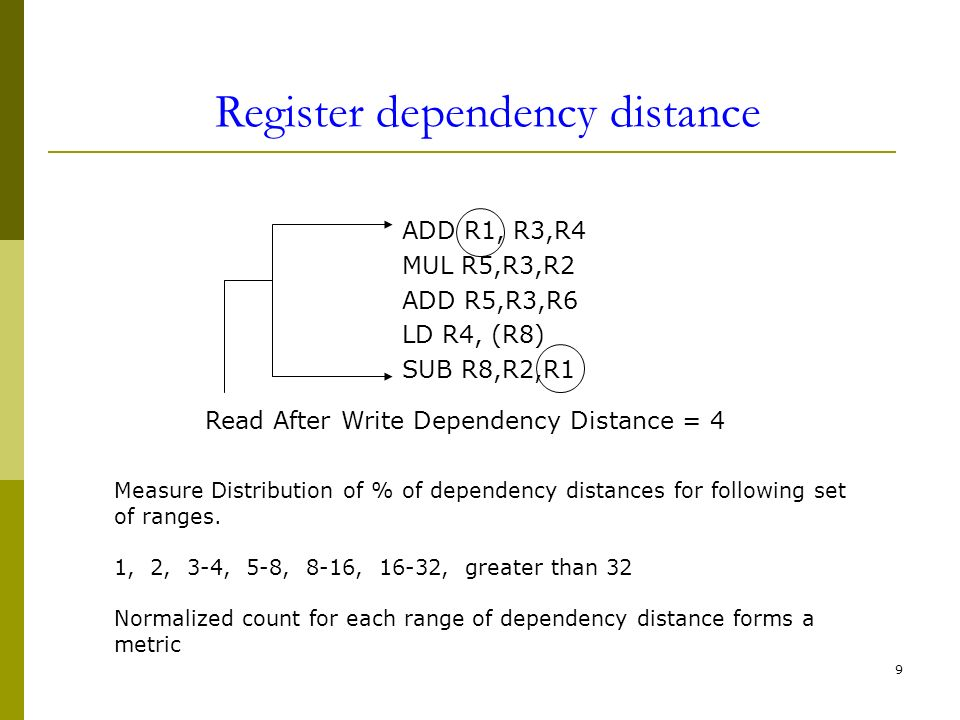 9 ADD R1, R3,R4 MUL R5,R3,R2 ADD R5,R3,R6 LD R4, (R8) SUB R8,R2,R1 Read After Write Dependency Distance = 4 Measure Distribution of % of dependency di