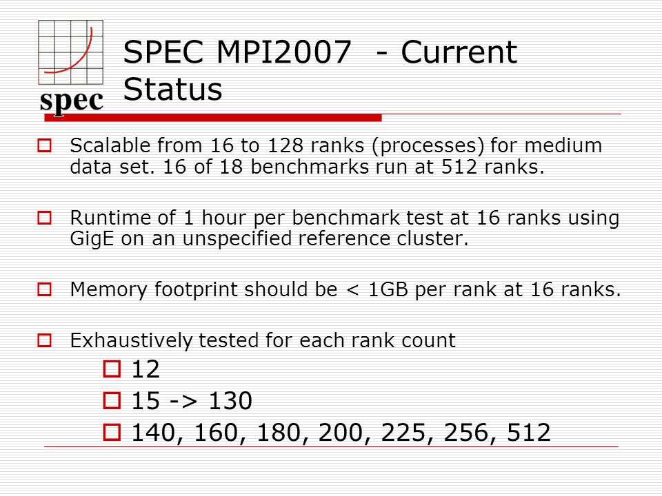 SPEC MPI Current Status Scalable from 16 to 128 ranks (processes) for medium data set.