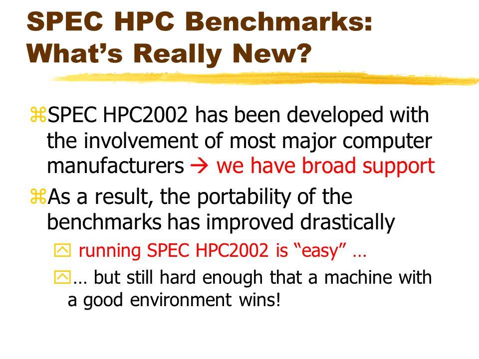 SPEC HPC Benchmarks: Whats Really New.