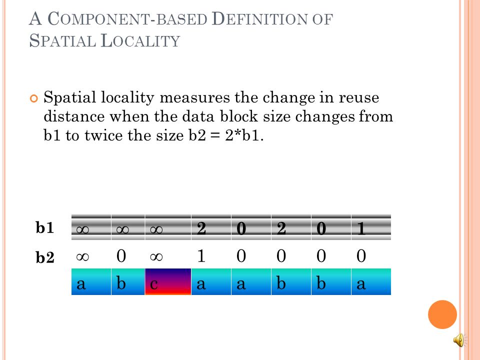 A C OMPONENT - BASED D EFINITION OF S PATIAL L OCALITY Spatial locality measures the change in reuse distance when the data block size changes from b1 to twice the size b2 = 2*b1.