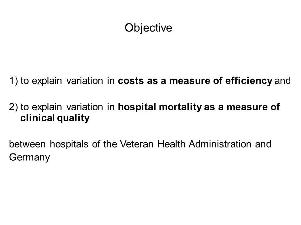 Objective 1) to explain variation in costs as a measure of efficiency and 2) to explain variation in hospital mortality as a measure of clinical quality between hospitals of the Veteran Health Administration and Germany