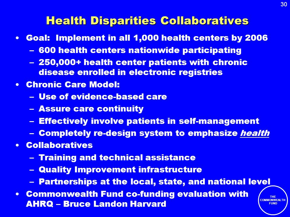 30 THE COMMONWEALTH FUND Health Disparities Collaboratives Goal: Implement in all 1,000 health centers by 2006 –600 health centers nationwide participating –250,000+ health center patients with chronic disease enrolled in electronic registries Chronic Care Model: –Use of evidence-based care –Assure care continuity –Effectively involve patients in self-management –Completely re-design system to emphasize health Collaboratives –Training and technical assistance –Quality Improvement infrastructure –Partnerships at the local, state, and national level Commonwealth Fund co-funding evaluation with AHRQ – Bruce Landon Harvard