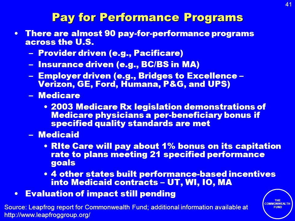 41 THE COMMONWEALTH FUND Pay for Performance Programs There are almost 90 pay-for-performance programs across the U.S.