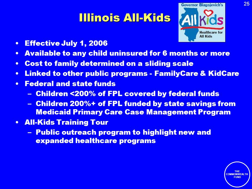 25 THE COMMONWEALTH FUND Illinois All-Kids Effective July 1, 2006 Available to any child uninsured for 6 months or more Cost to family determined on a