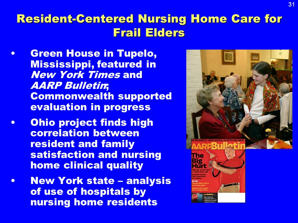 31 Resident-Centered Nursing Home Care for Frail Elders Green House in Tupelo, Mississippi, featured in New York Times and AARP Bulletin; Commonwealth