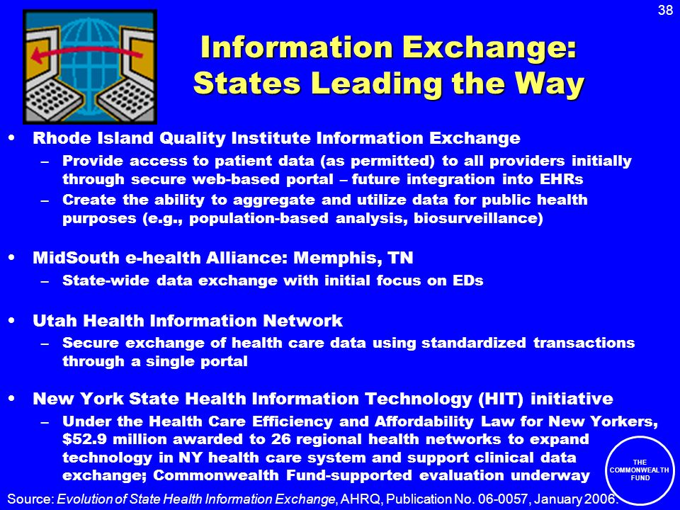 38 THE COMMONWEALTH FUND Information Exchange: States Leading the Way Rhode Island Quality Institute Information Exchange –Provide access to patient d
