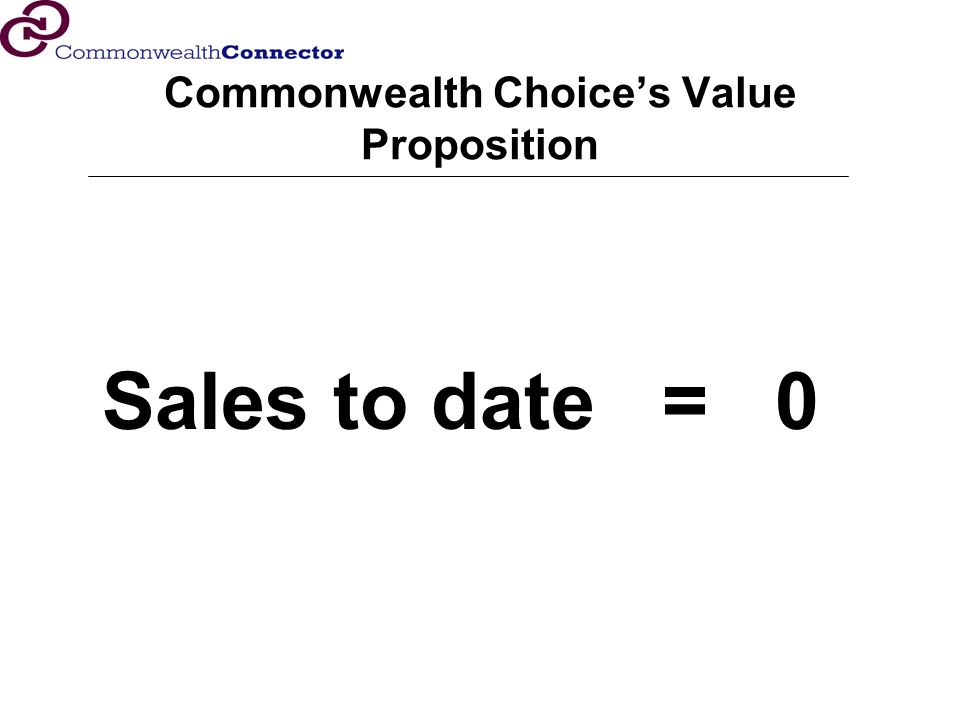 Commonwealth Choices Value Proposition Sales to date = 0