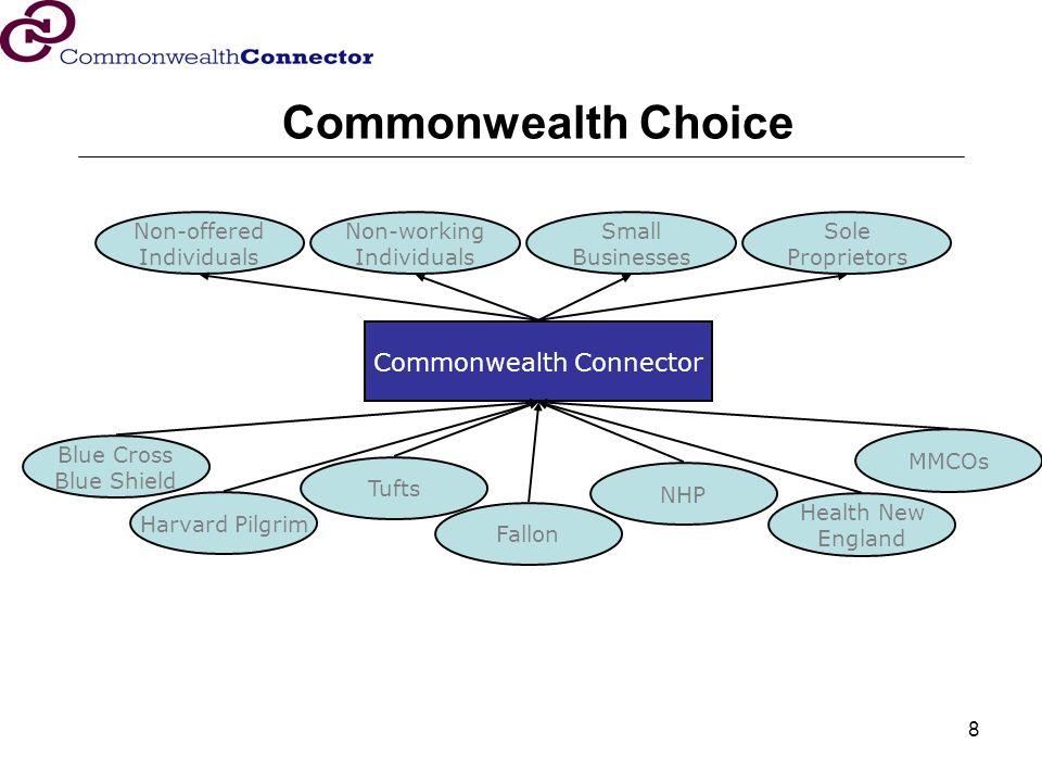 8 Non-offered Individuals Small Businesses Sole Proprietors Non-working Individuals Blue Cross Blue Shield Fallon Harvard Pilgrim Commonwealth Connect