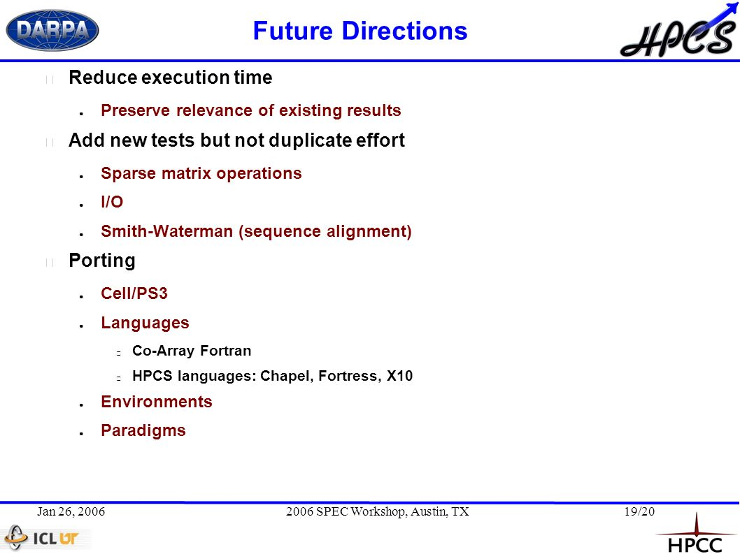 Jan 26, 20062006 SPEC Workshop, Austin, TX19/20 Future Directions Reduce execution time Preserve relevance of existing results Add new tests but not duplicate effort Sparse matrix operations I/O Smith-Waterman (sequence alignment) Porting Cell/PS3 Languages Co-Array Fortran HPCS languages: Chapel, Fortress, X10 Environments Paradigms
