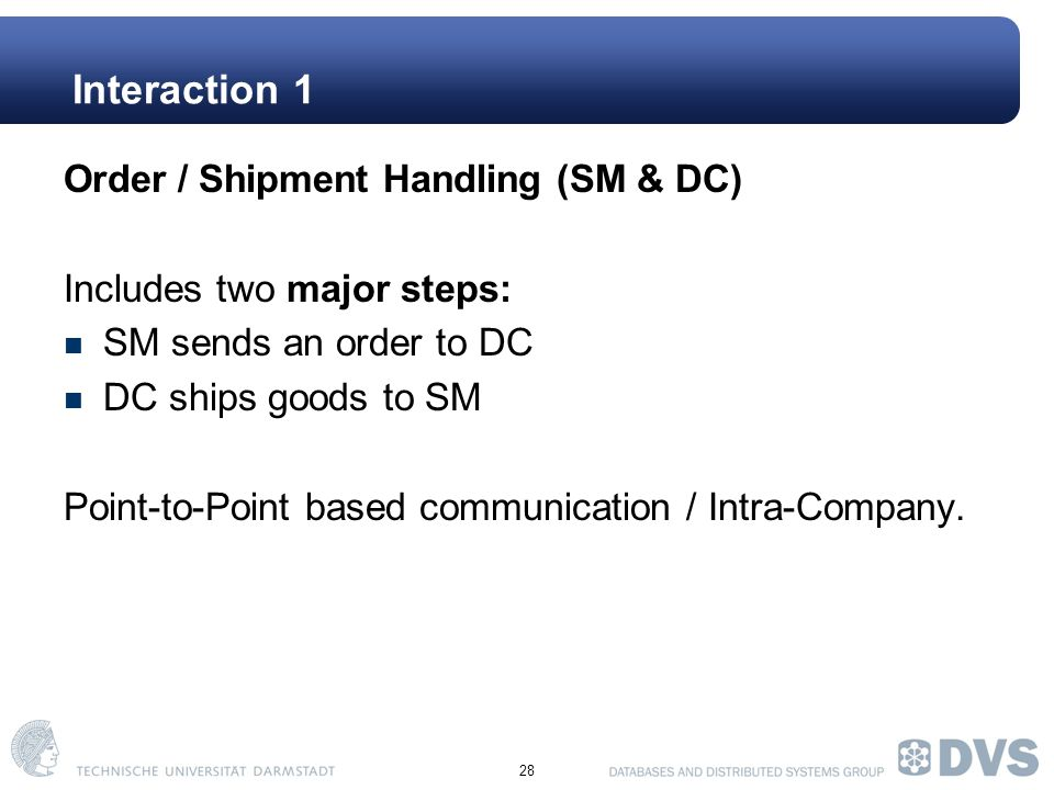 28 Interaction 1 Order / Shipment Handling (SM & DC) Includes two major steps: SM sends an order to DC DC ships goods to SM Point-to-Point based communication / Intra-Company.