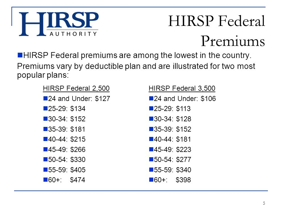 5 HIRSP Federal Premiums HIRSP Federal premiums are among the lowest in the country.