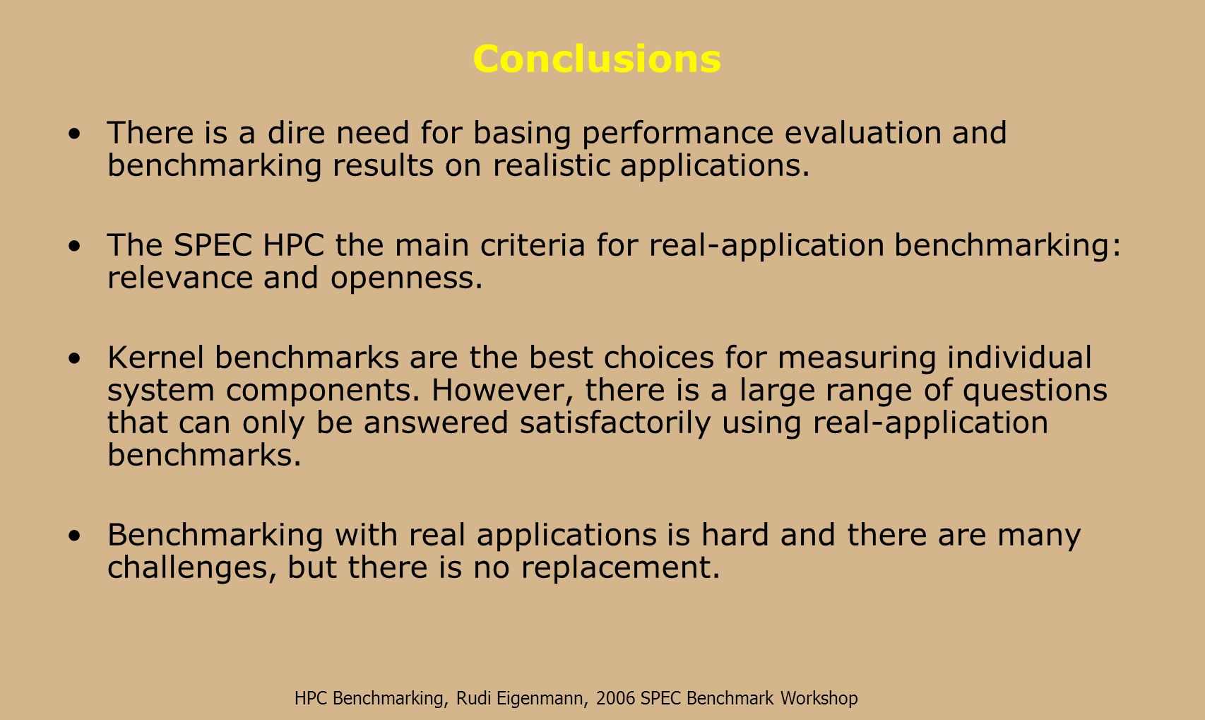 HPC Benchmarking, Rudi Eigenmann, 2006 SPEC Benchmark Workshop Memory Footprints