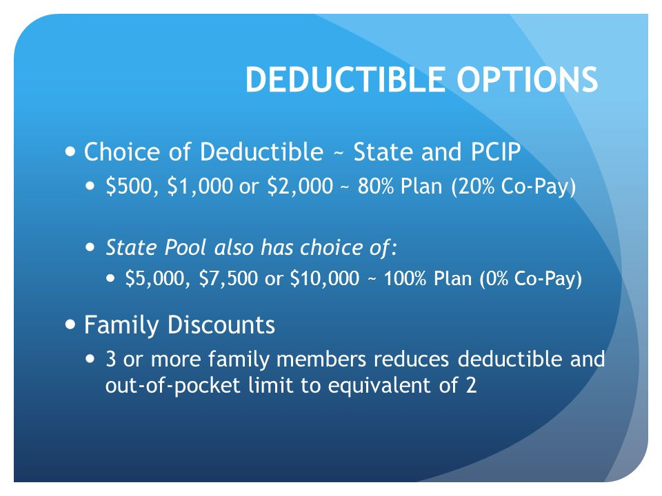 DEDUCTIBLE OPTIONS Choice of Deductible ~ State and PCIP $500, $1,000 or $2,000 ~ 80% Plan (20% Co-Pay) State Pool also has choice of: $5,000, $7,500