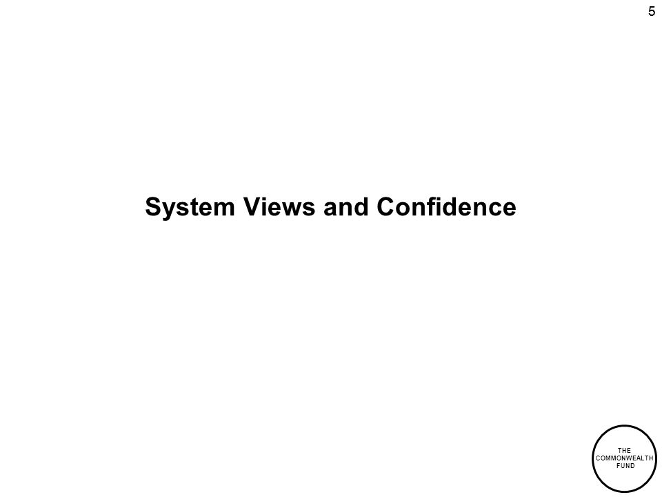 THE COMMONWEALTH FUND 55 System Views and Confidence