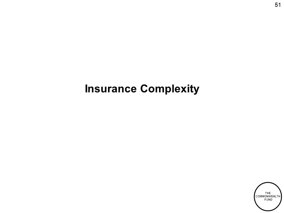 THE COMMONWEALTH FUND 51 Insurance Complexity