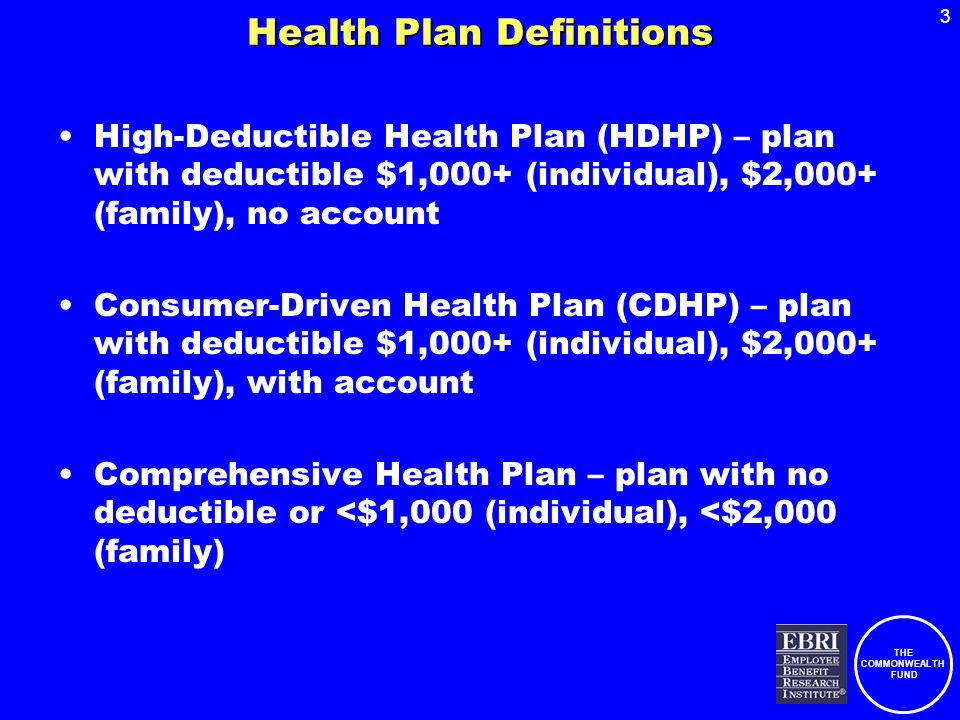 THE COMMONWEALTH FUND 3 Health Plan Definitions High-Deductible Health Plan (HDHP) – plan with deductible $1,000+ (individual), $2,000+ (family), no a