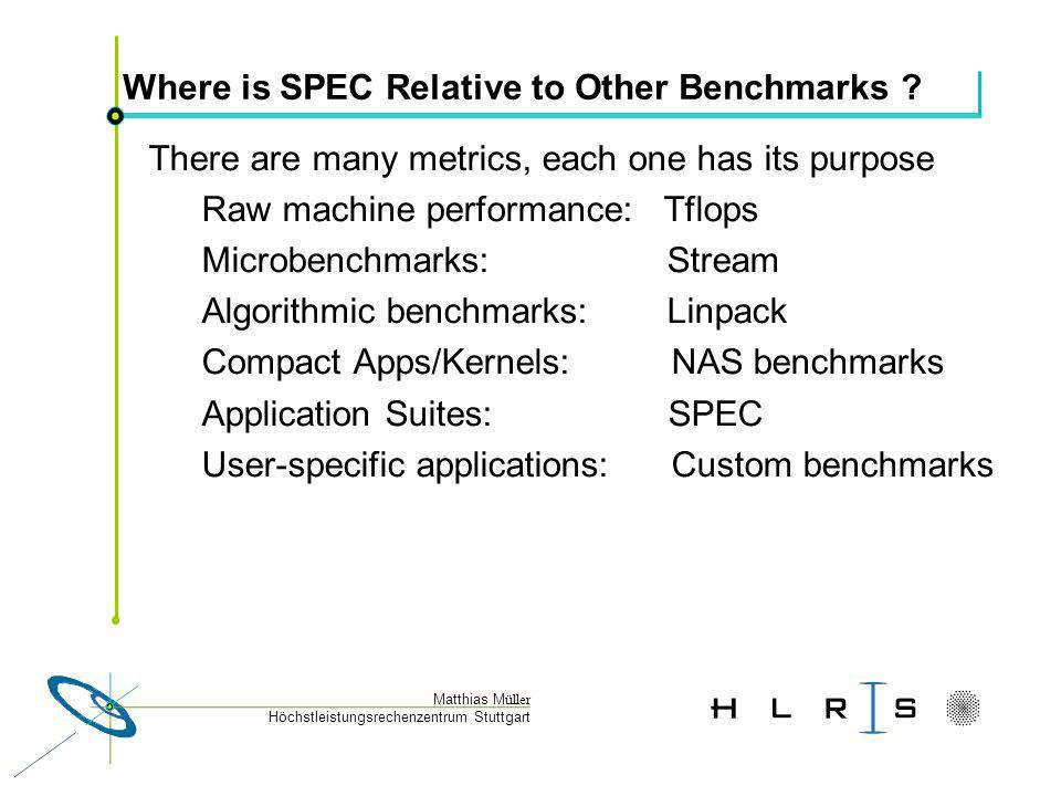 Höchstleistungsrechenzentrum Stuttgart Matthias M üller Where is SPEC Relative to Other Benchmarks .