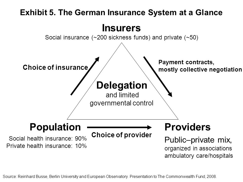 PopulationProviders Social health insurance: 90% Private health insurance: 10% Public–private mix, organized in associations ambulatory care/hospitals