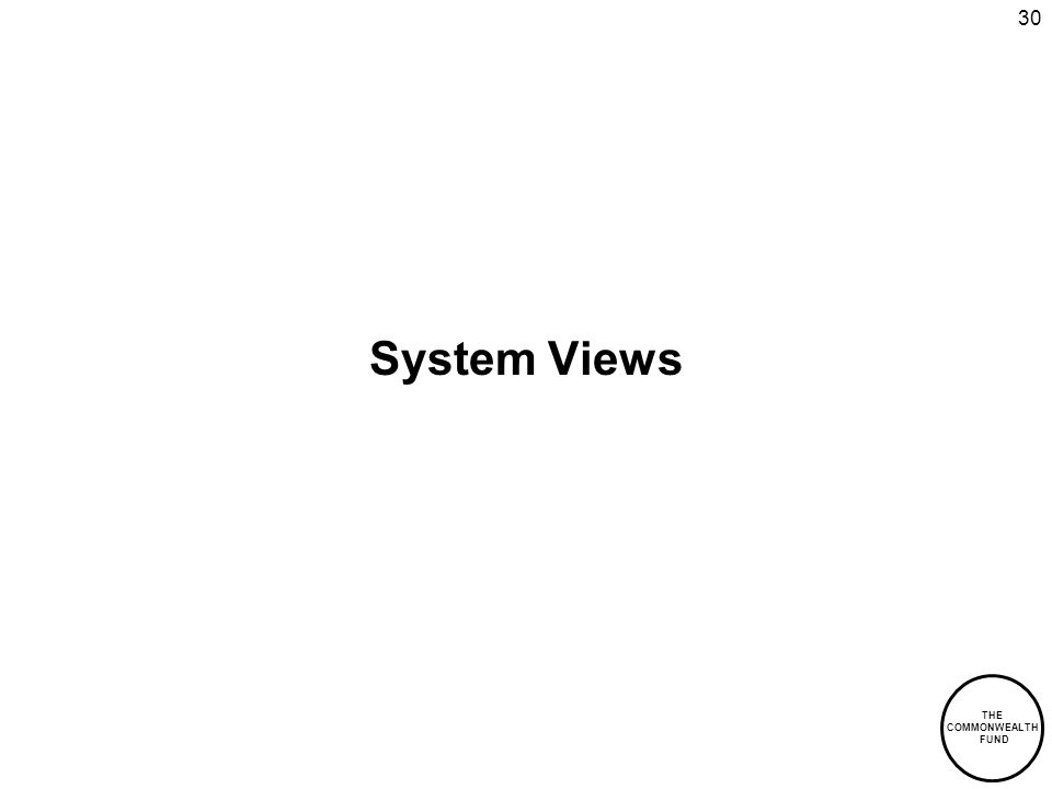 THE COMMONWEALTH FUND 30 System Views