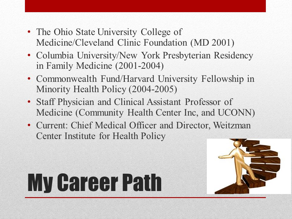My Career Path The Ohio State University College of Medicine/Cleveland Clinic Foundation (MD 2001) Columbia University/New York Presbyterian Residency