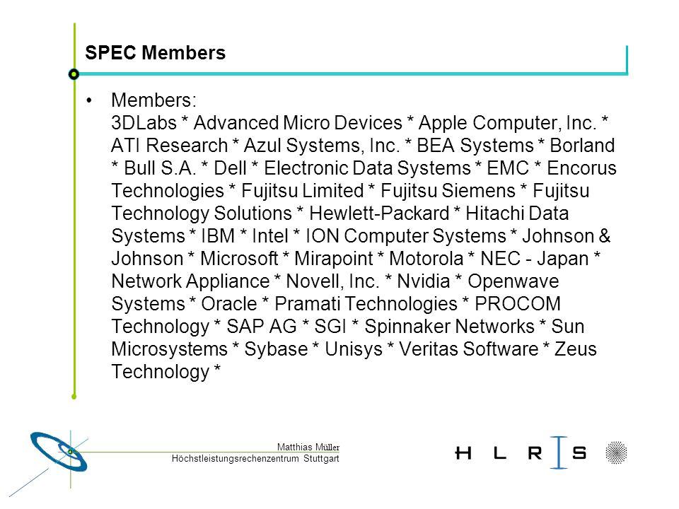 Höchstleistungsrechenzentrum Stuttgart Matthias M üller SPEC HPC2002 Results: SPECchem scaling