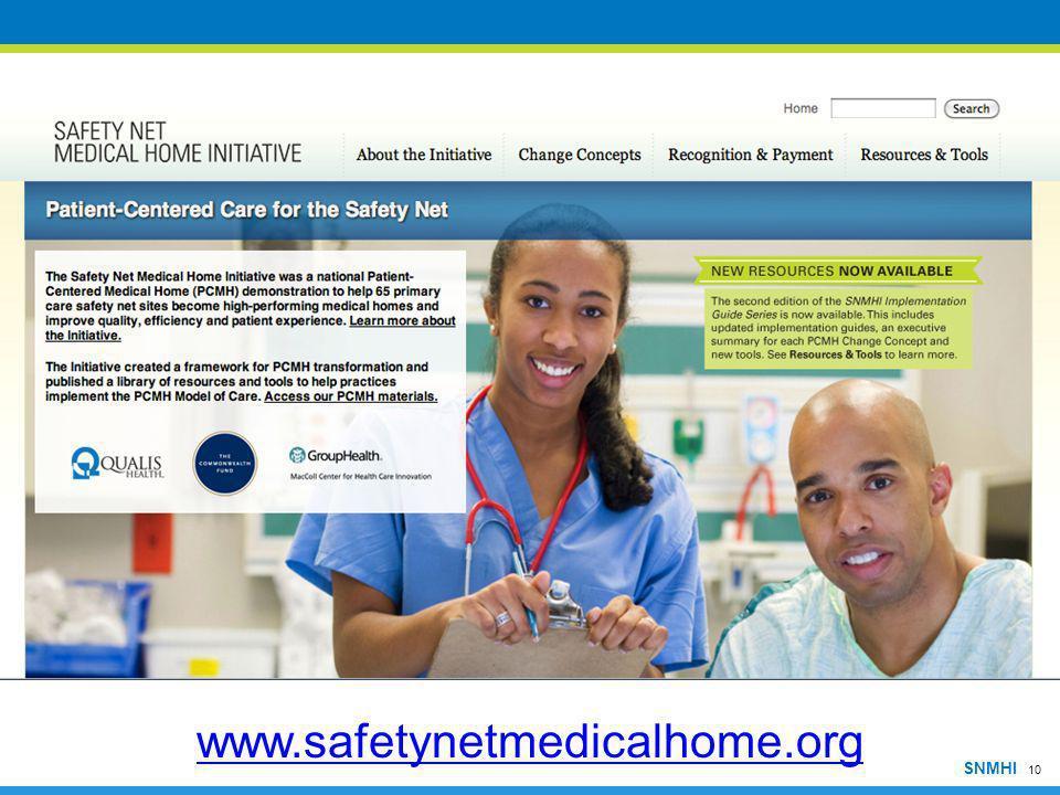 10 SNMHI www.safetynetmedicalhome.org