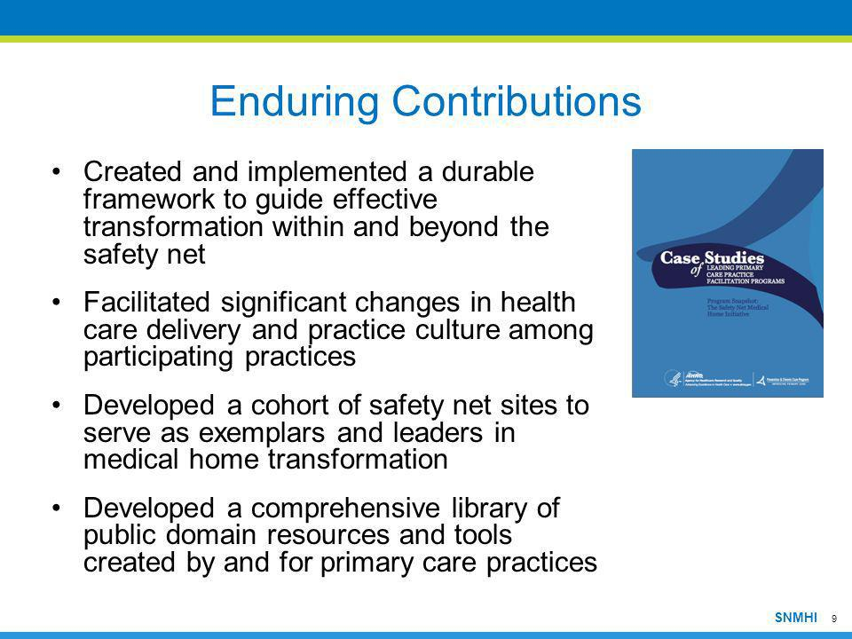 9 SNMHI Enduring Contributions Created and implemented a durable framework to guide effective transformation within and beyond the safety net Facilita