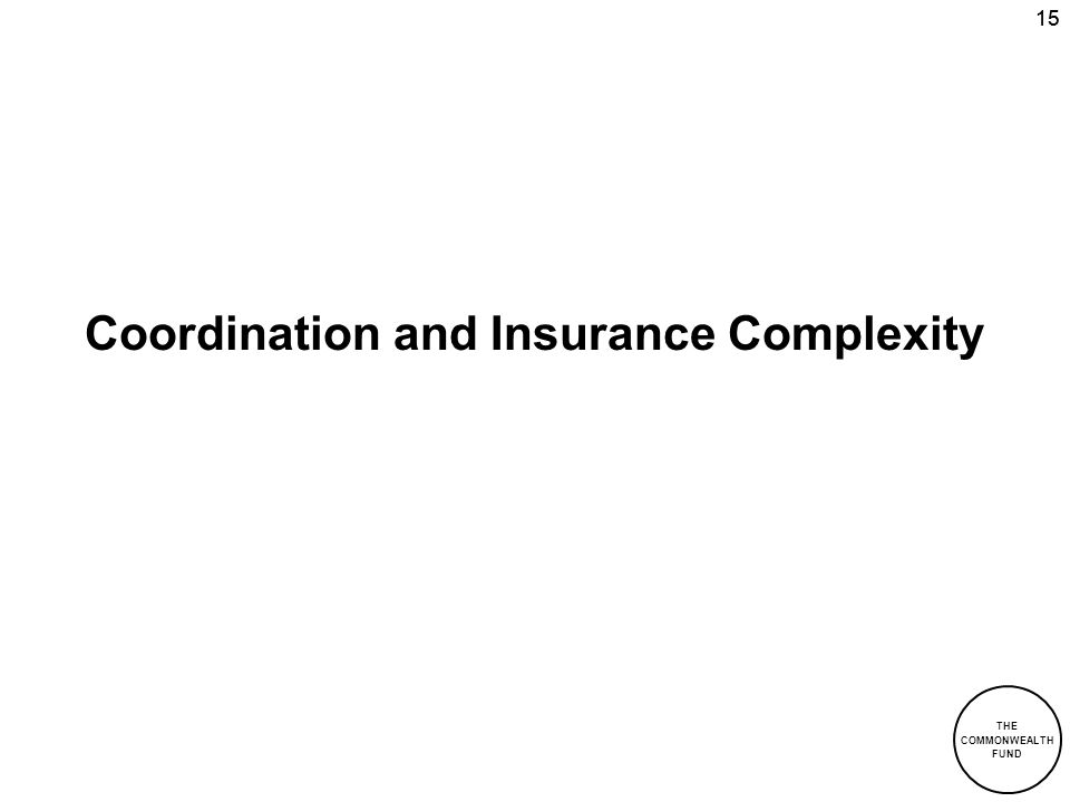 THE COMMONWEALTH FUND 15 Coordination and Insurance Complexity