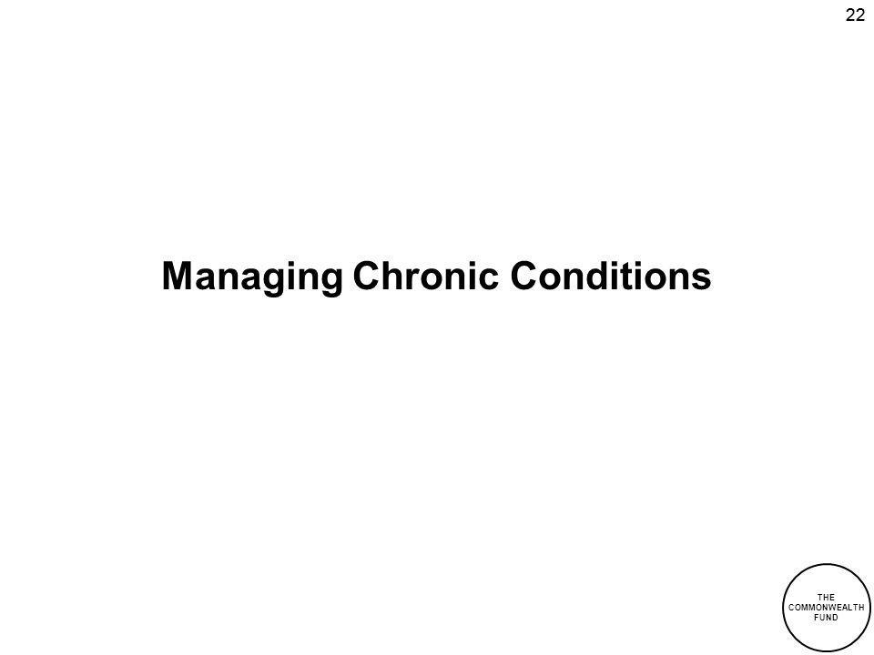 THE COMMONWEALTH FUND 22 Managing Chronic Conditions