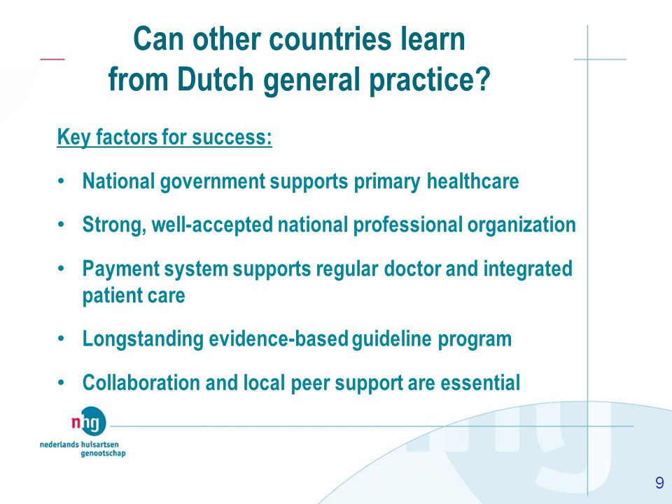 Key factors for success: National government supports primary healthcare Strong, well-accepted national professional organization Payment system suppo
