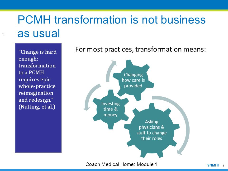 3 SNMHI PCMH transformation is not business as usual Change is hard enough; transformation to a PCMH requires epic whole-practice reimagination and re