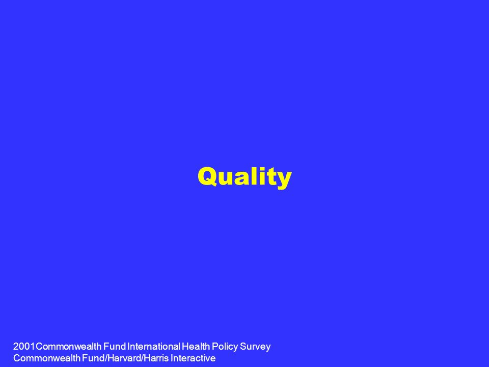 2001Commonwealth Fund International Health Policy Survey Commonwealth Fund/Harvard/Harris Interactive Quality