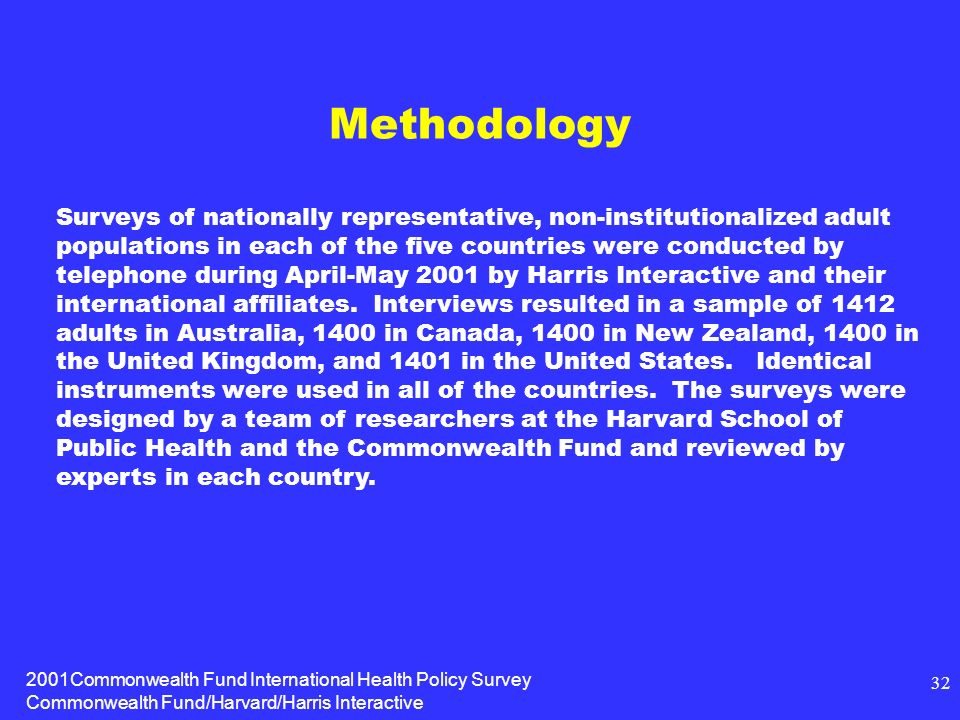 2001Commonwealth Fund International Health Policy Survey Commonwealth Fund/Harvard/Harris Interactive 32 Methodology Surveys of nationally representative, non-institutionalized adult populations in each of the five countries were conducted by telephone during April-May 2001 by Harris Interactive and their international affiliates.